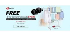 [Best Denki] Free 3 Tier Garment Rack (Worth $79) for selected Washing Machines or Washer Cum Dryers purchase at $520 & above, While