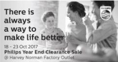 Harvey Norman: Buy 1 Item & Get 1 FREE Gift + Philips Year End Clearance Sale