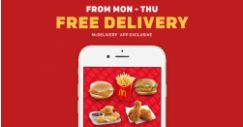 McDonald's: McDelivery App Exclusive – FREE Delivery from Monday to Thursday!