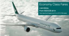 Cathay Pacific: 2-Day Only Sale with Special Economy Class Fares to Hong Kong, Bangkok, Taipei, Tokyo & More from SGD228!