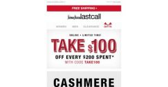 [Last Call] Cashmere how you like it + $100 off every $200 spent
