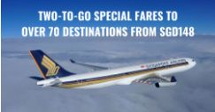 Singapore Airlines: Two-to-Go Fares to Over 70 Destinations from SGD148 for Travel Dates in 2019!