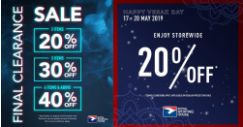 Royal Sporting House: Final Clearance Sale with Up to 40% OFF at Selected Stores & 20% OFF Storewide at All Stores!
