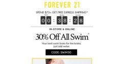 [FOREVER 21] DIVE IN! 30% OFF ALL SWIM!