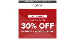 [Crocs Singapore] ⏰Last Chance⏰ Extra 30% off Sitewide* HURRY!!