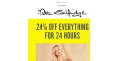 [Miss Selfridge] 24% off EVERY SINGLE THING for 24 hours. HURRY ⏳