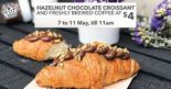 The Coffee Bean & Tea Leaf: Hazelnut Chocolate Croissant + Freshly Brewed Coffee at only $4!