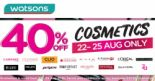 Watsons: Enjoy 40% OFF Cosmetics with No Minimum Spend In Stores & Online!