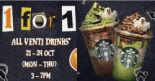 Starbucks: Enjoy 1-for-1 Treat on All Venti-Sized Drinks from 3pm to 7pm!