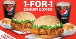 KFC: Enjoy 1-for-1 Zinger Combo When You Order KFC Delivery!