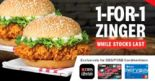 KFC: Enjoy 1-for-1 Zinger Burger when You Pay with DBS PayLah! or DBS/POSB Debit/Credit Cards!