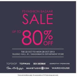 Up to 80% OFF! F3 Fashion at Takashimaya