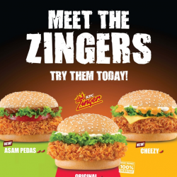 Meet the Zingers! New Cheezy Zinger and spicy Asam Pedas Zinger by KFC