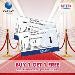 Buy 1 get 1 Free @Cathay Cineplexes! when pay with Flash Pay