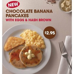 Only at S$2.95! NEW Chocolate Banana Pancakes Breakfast set at KFC