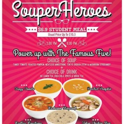 Student Meal offered at S$6.9 (U.P. S$10.3) by The Soup Spoon
