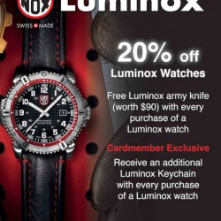 20% OFF On Luminox Watches + FREE Army Knife at TANGS