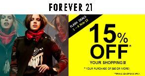 15% OFF! Forever 21 Flash Deals