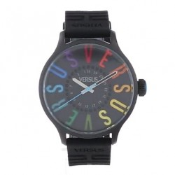 Versus by Versace Women's 3 Versus City Black Ion-Plated Stainless Steel Multi-Colored Indexes Date Watch at US175