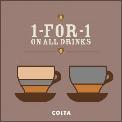 1-for-1 Promotion on all Beverages at Costa Coffee Singapore @ Robinsons Orchard