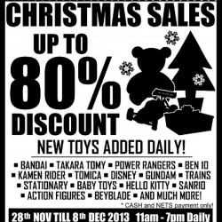 Up To 80% Discount On Bandai, Gundam, Hello Kitty & More! Sheng Tai Branded Toys Christmas Sale 2013