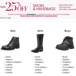 25% OFF Shoes and Handbags with coupon code BFSHOE25 at checkout