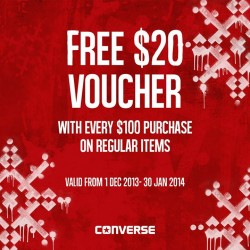 FREE S$20 Voucher with Every S$100 Purchase at Converse