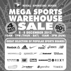 Up To 80% Off Popular Sports Brands! Royal Sporting House Warehouse Sale 2013