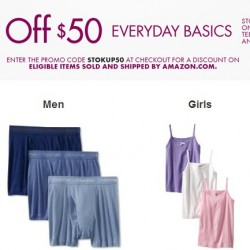 Amazon Everyday Basics Apparel Promotion: Spend US$50and GET US$10 OFF