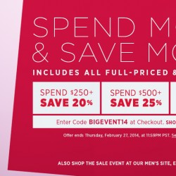 Shopbop Spend More and Save More promotion