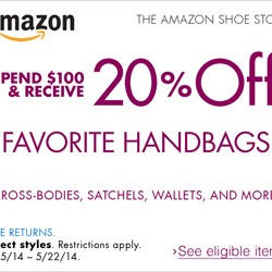 Amazon | Handbags 20% OFF Coupon Code May 2014