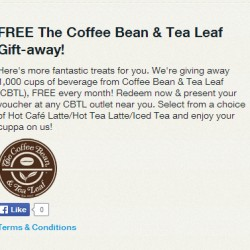 Singtel Rewards | FREE The Coffee Bean & Tea Leaf Gift-away