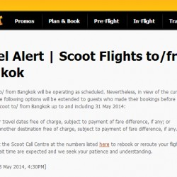Scoot | Travel Alert Scoot Flights to/from Bangkok