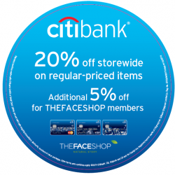 The Face Shop | 20% off all regular priced item for Citibank cards
