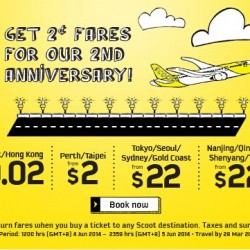 Scoot | 2 Year Anniversary 2-Cent Fares