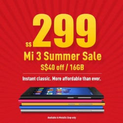 Xiaomi | Mi3 smartphone summer sale at S$299
