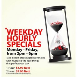 K Box Singapore | weekdays hourly special