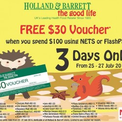Holland & Barrett | Free $30 voucher when you pay with NETS