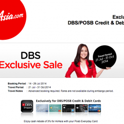 AirAsia | one-way base fare of SGD3 with DBS/POSB card