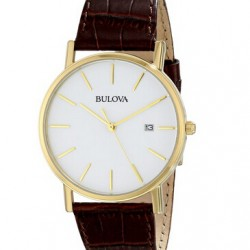 Amazon | Bulova Men's 97B100 Gold-Tone Stainless Steel and Brown Leather Watch