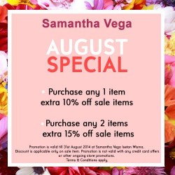 Samantha Vega | Up to extra 15% off sales items