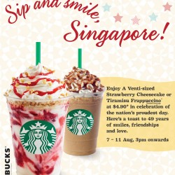 Starbucks Singapore | S$4.90 Venti-sized Frappuccino National Day Promotion