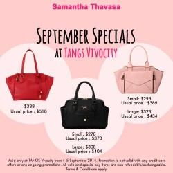 Samantha Thavasa | September specials at TANGS VivoCity