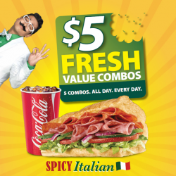 Subway | Spicy Italian fresh value combo meal for $5