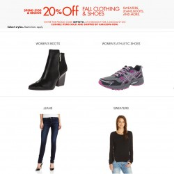 Amazon Coupon | 20% OFF Autumn Clothing, Shoes and Handbags