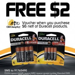 Old Chang Kee | free $2 voucher with $6 Duracell products purchase