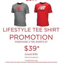 New Balance | Lifestyle Tee Shirt Promotion @ $39 for 2
