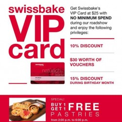 Swiss Bake | VIP Card with no min. spend & 1-FOR-1 Pastries