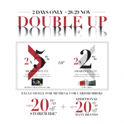 UOB | 20% off storewide + double rebate at Metro