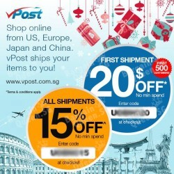 vPost | up to $20 off shipment with UOB cards
